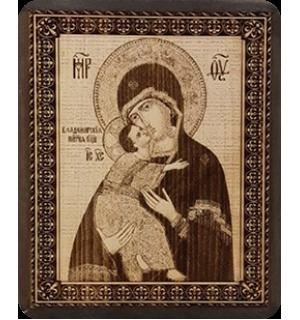 """Икона на кедровой доске """" Божья матерь """" Владимирская"""" с полями."""