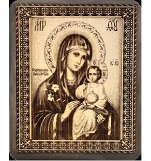 """Икона на кедровой доске """" Божья матерь """" Неувядаемый цвет"""" с полями."""