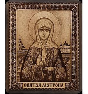 """Икона на кедровой доске """" Святая Матрона московская"""" с полями."""