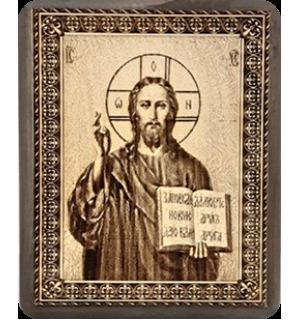 """Икона на кедровой доске """" Господь  Спаситель""""с полями"""