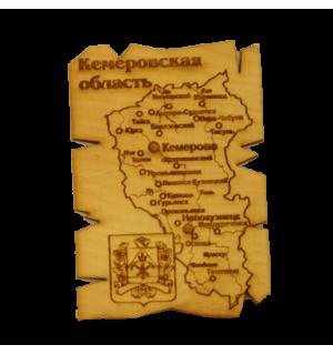 """Карта """"Кемеровская область"""" прямоугольная(магнит)"""